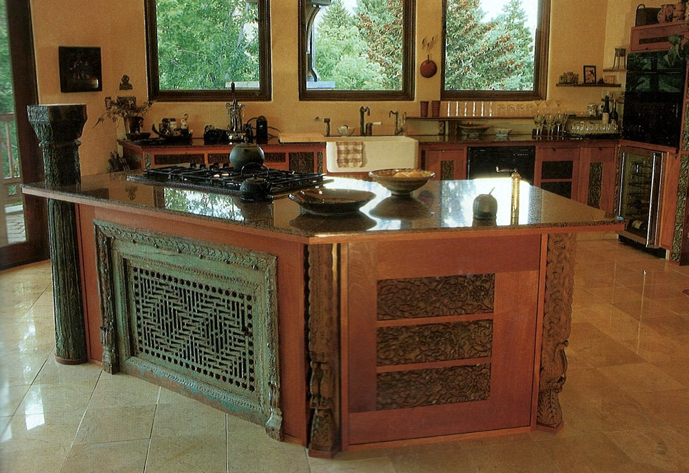 Kitchen island, showing the artful integration of an ancient Islamic Jali