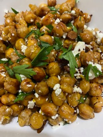 Roasted chickpea with lemon and feta