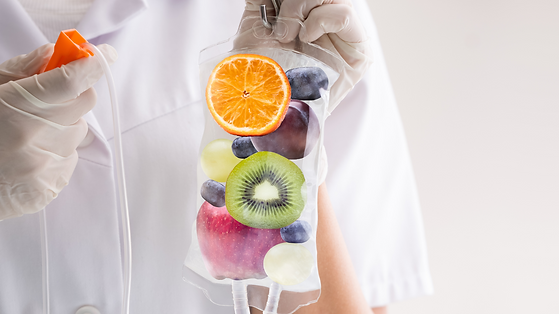 Fruit in an IV bag