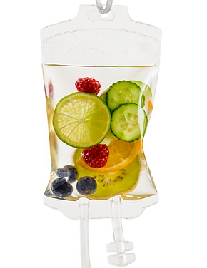 IV infusion bag filled with fruit to represent a vitamin infusion