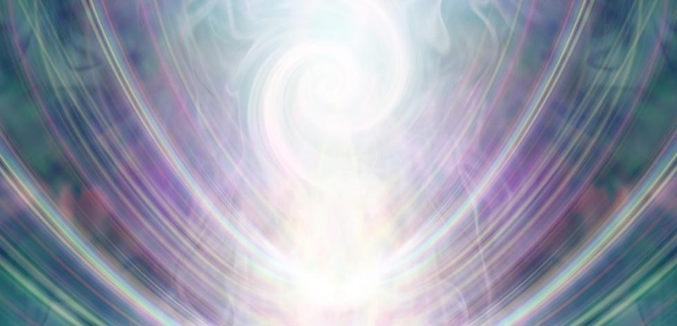 swirls of colors purple, green yellow and white