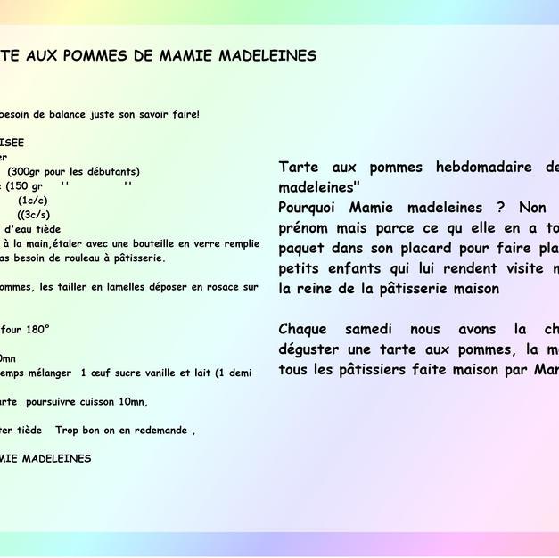 Tarte aux pommes de Mamie Madeleines par Jade de Bourbon