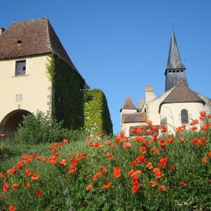 Château de Pouzy avec coquelicots Par Anne de Pouzy