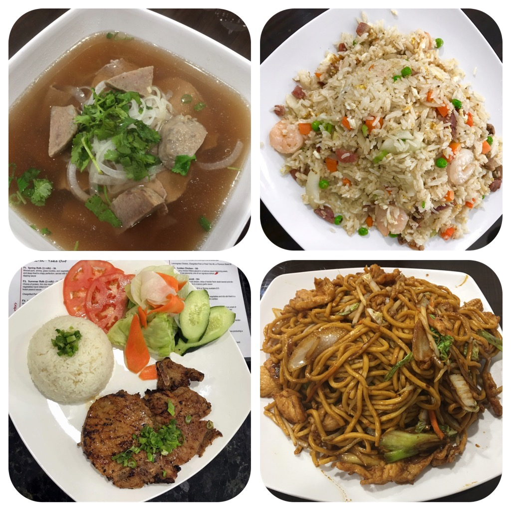 Pho, fried rice, pork chop, lo mein