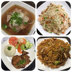 Pho, fried rice, pork chop, lo mein