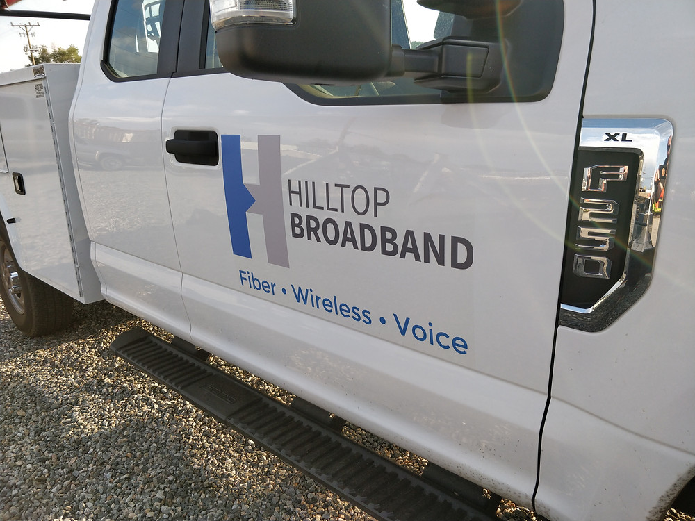 Hilltop Truck with new logo.  We have added our fiber and voice services to the logo.