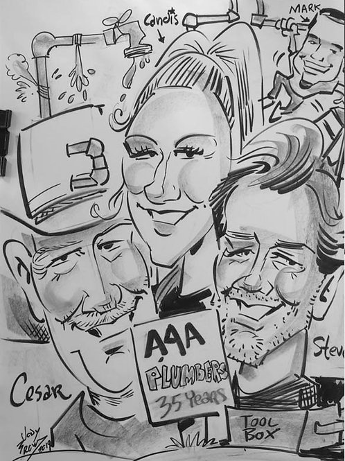 3 People or more Caricatures
