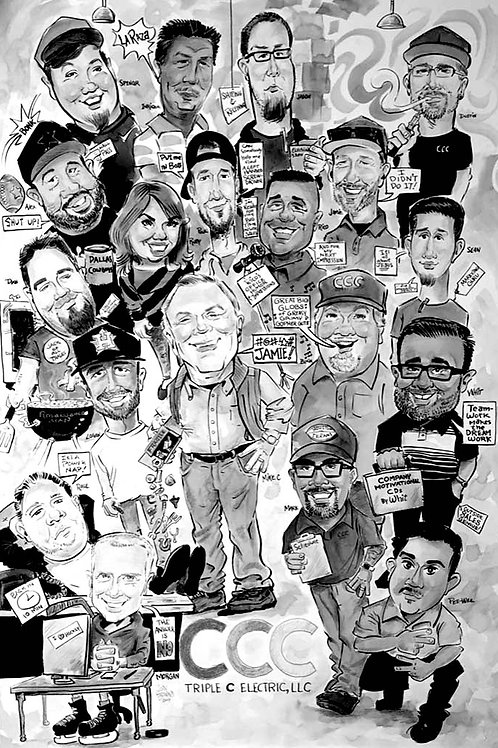 Group Caricatures with Customized Theme
