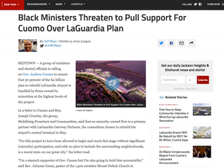 Black Ministers Threaten to Pull Support For Cuomo Over LaGuardia Plan