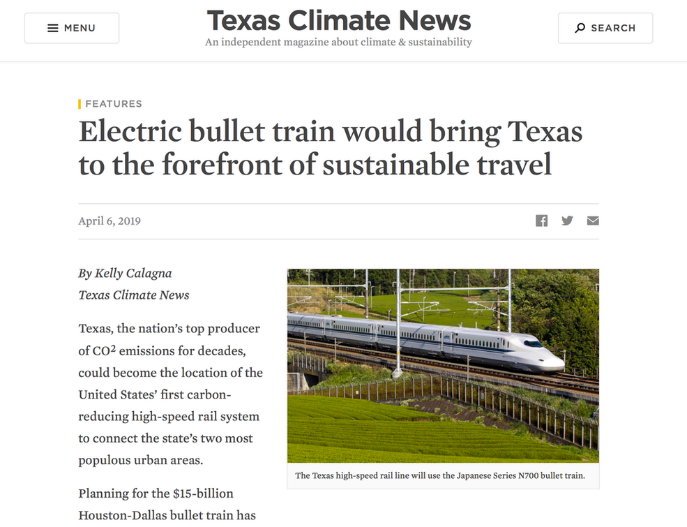 Electric bullet train would bring Texas to the forefront of sustainable travel