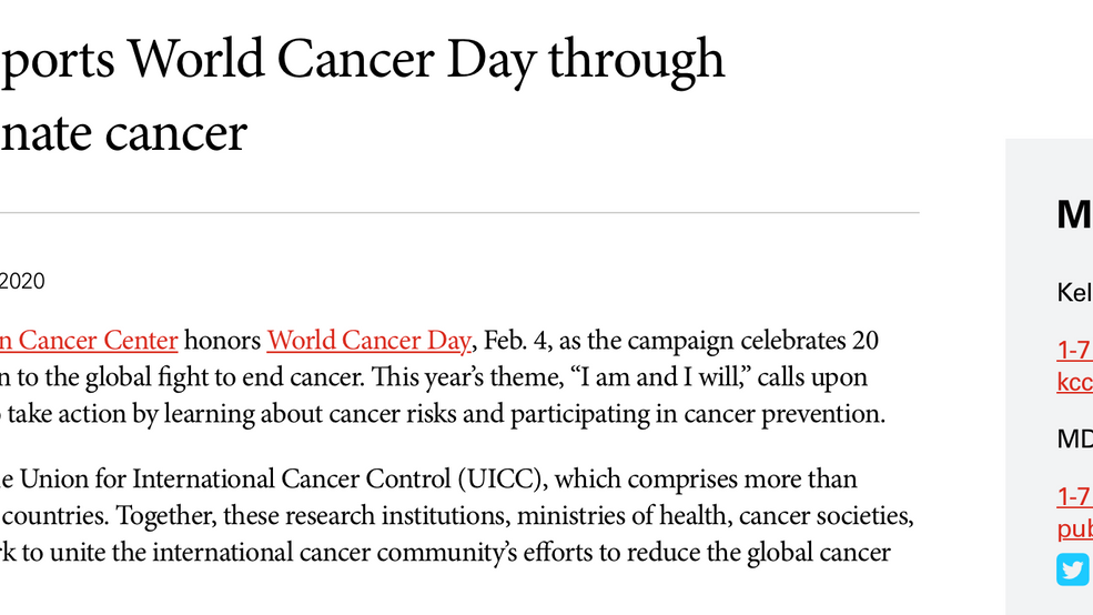 World Cancer 2020 Day Press Release