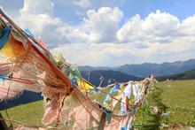 Tibetan prayer flags outside of Litang.j