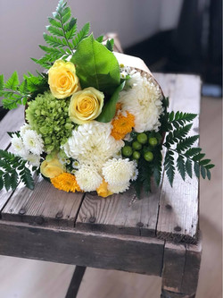 wrapped bouquet yellow