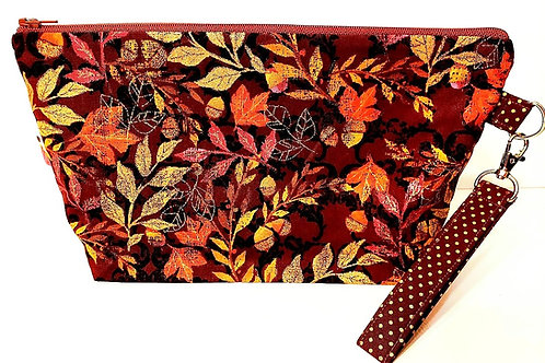 Large Zippered Project Bag - Fall Leaves