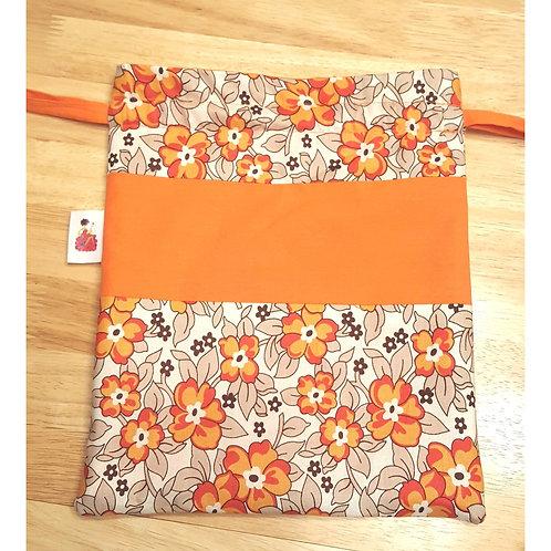 Orange Flowers Drawstring Project Bag