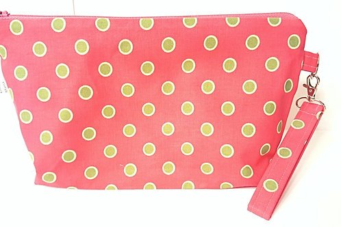 Large Zippered Project Bag - Green Polka Dots