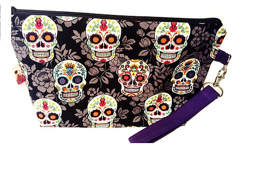 Large Zippered Project Bag - Mardi Gras Skulls