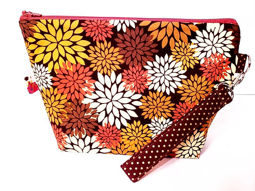 Small Zippered Project Bag - Fall Flowers