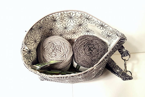 Small Zippered Project Bag - Grey Flowers