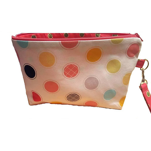 Large Zippered Project Bag - Big Polka Dots