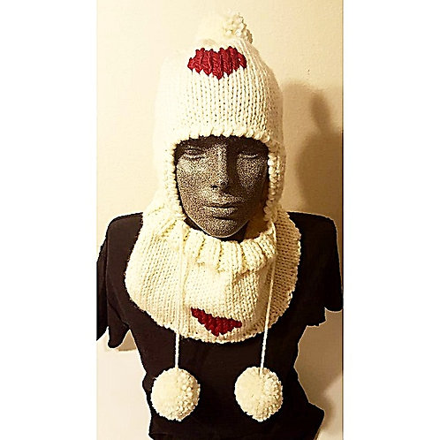 Ear Flap Hat and Cowl with Heart Motif