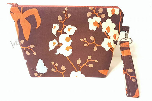 Small Zippered Project Bag - Brown Flowers