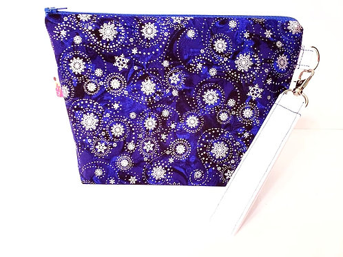 Small Zippered Project Bag - Snowflakes