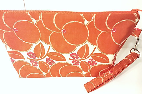 Large Zippered Project Bag - Orange Flowers