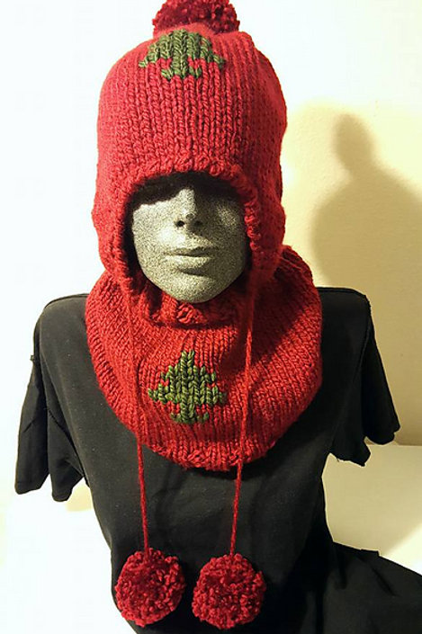 Ear Flap Hat and Cowl with Tree Motif