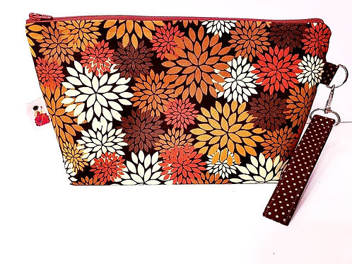 Large Zippered Project Bag - Fall Flowers