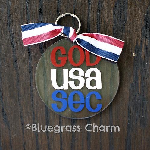 GOD USA SEC Acrylic Keychain