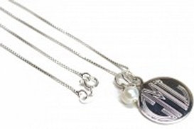 Silver Monogram Circle Necklace with Pearl