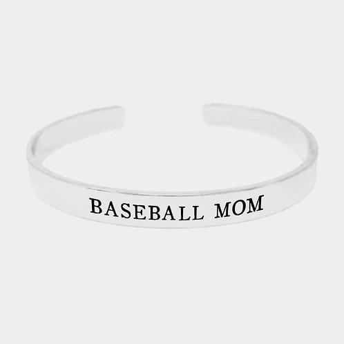 Baseball Mom Dipped Metal Cuff Bracelet