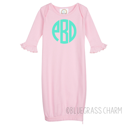 Circle  Monogram Ruffle Baby Gown