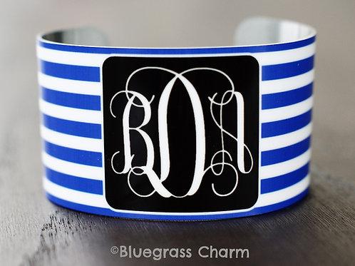 bDa Royal/White Monogram Cuff