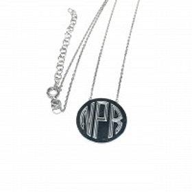 Silver Monogram Circle Necklace