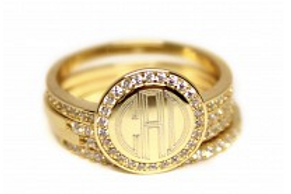 Gold Monogrammed Stacked Rhinestone Ring