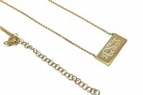 Gold Small Bar Engraveable Necklace