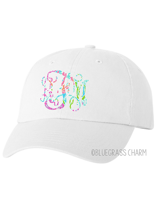 Pigment Dyed Preppy Patterned Monogram Hat