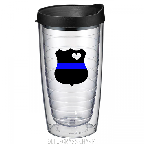 Back the Blue Line Monogrammed Double Wall Tumbler