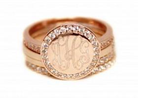 Rose Gold Monogrammed Stacked Rhinestone Ring