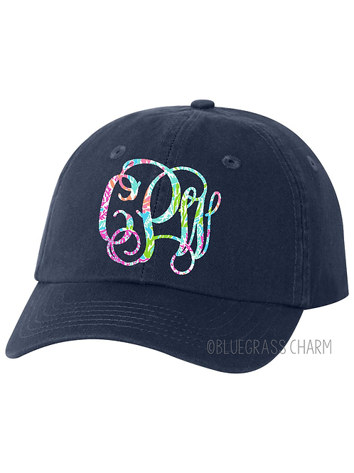 Youth Preppy Patterned Monogram Hat