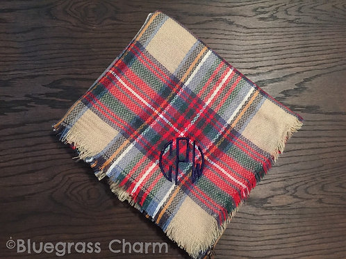 Plaid Monogram Blanket Scarf (Green and Navy Plaid Only (#1))