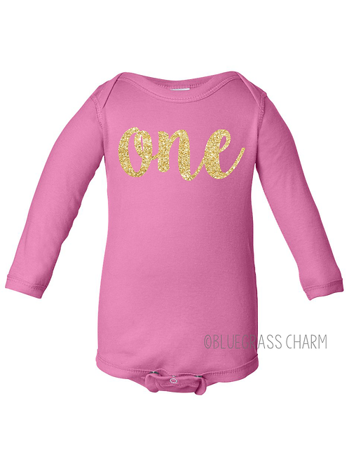 Glitter Birthday Long Sleeve Onesie