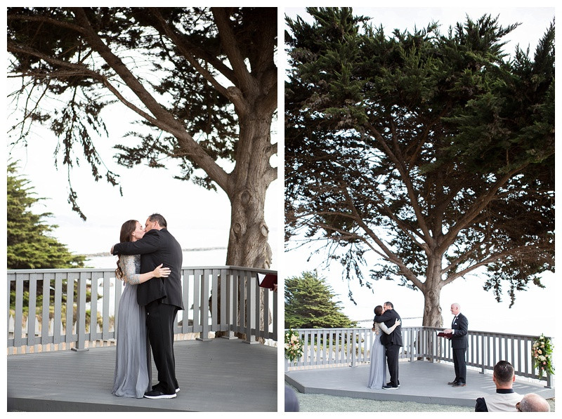 First Kiss at Point San Luis Lighthouse Wedding