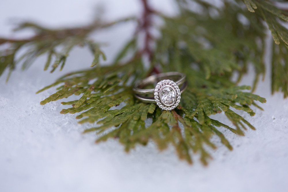 Ring Shot | Snowy Shaver Lake Engagement Session