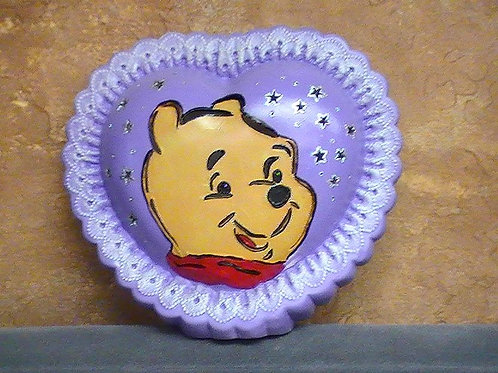 Sweet bear in a heart shaped lamp painted