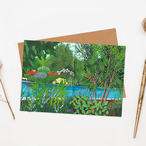 Tropical Jungle Pool Greeting Card