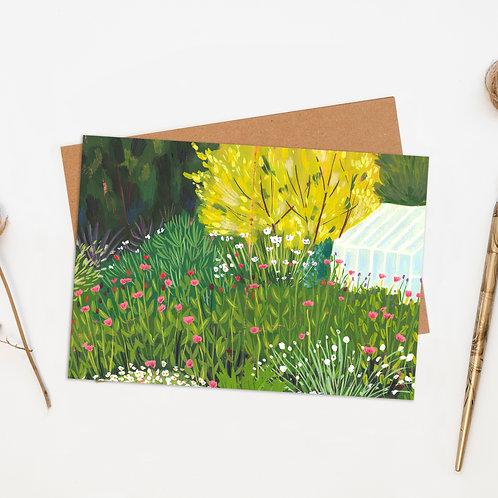 Wild Flower Garden & Greenhouse Greeting Card