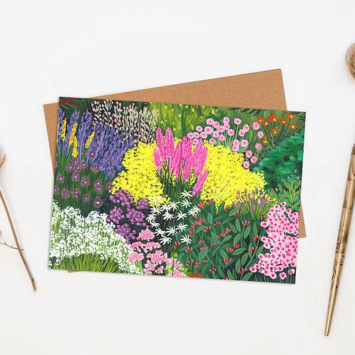 Botanical Flower Garden Greeting Card